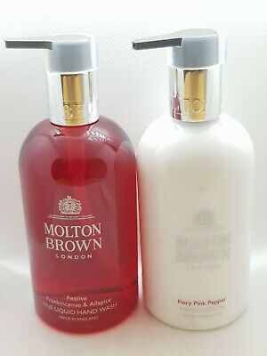 Molton Brown Festive Frankincense All Spice Hand Wash, Fiery Pink Pepper Lotion