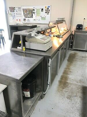 Stainless Steel Hot Bain Marie, Bench and Storage. 3m&15cm.
