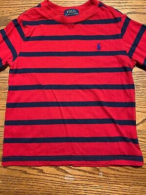 Polo, Ralph Lauren Toddler Boys Size 3T Red, Navy Striped Shirt Long Sleeves