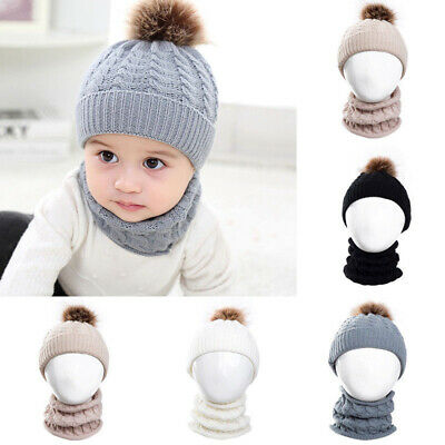 Knitted Baby Hat For Girl Boy Winter Warm Baby Accessories Set Beanie Caps+Scarf