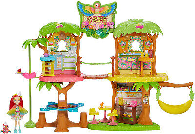Enchantimals Junglewood Cafe and Peeki Parrot Doll Kid Toy Gift