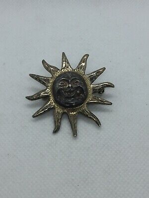 Vintage Sterling Silver Mexico Sun Brooch Pendant Two Toned Old Face Mayan