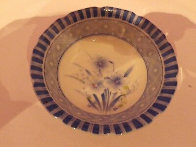 Fabulous Vintage Japanese Porcelain Flower Design Bowl 11 Cms Dia Signed