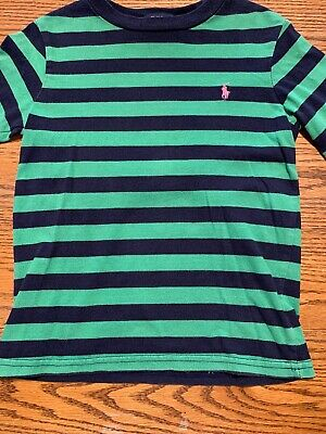 Polo, Ralph Lauren Toddler Boys Size 4T Green, Navy Striped Shirt Long Sleeves