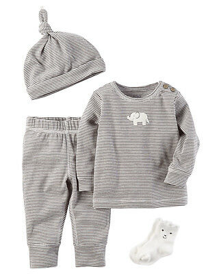 Carters 6 Months 4-Piece Gift Set Baby Boy Clothes Hat Socks Tee