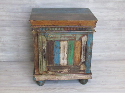Reclaimed wood Cabinet-Bedside table. Made of recycled solid wood. Exotic