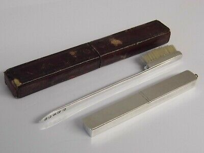 A SUPERB RARE ANTIQUE GEORGIAN c1799 SOLID SILVER TOOTHBRUSH & POWDER BOX & CASE