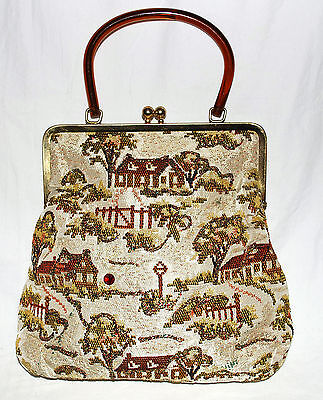 Vintage Tan w/ Red & Brown Houses & Scenery w/ AB Glitter Lucite Handle Handbag
