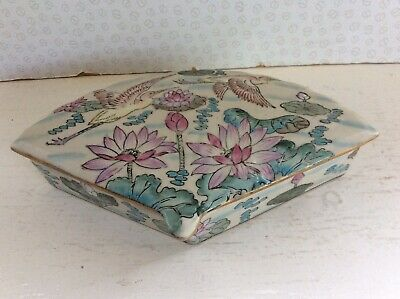 Antique Chinese Ceramic Fan Shaped Crane-Lotus Decorated Handcrafted Lidded Box