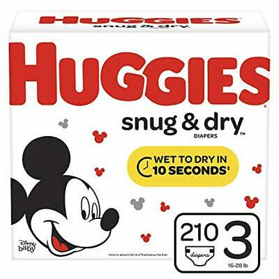 Huggies Snug & Dry Baby Diapers, Size 3 (fits 16-28 lb.), 210 Count, ONE MONTH S