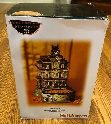 Department 56 Halloween Village TRICKS OR TREATS Lighted House & Candy Dish