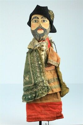 """Antique Hand Crafted Carved European Early 20th Century Large Hand Puppet 21"""""""