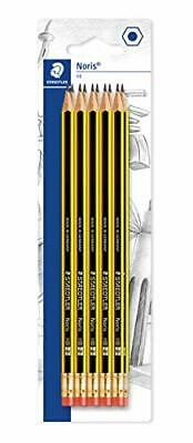 STAEDTLER 122-2 BK10 Noris HB Pencil with Eraser Tip, Double Stacked, Pack of 10