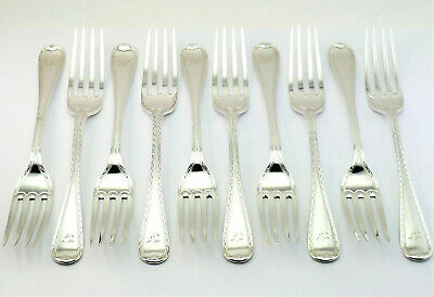 c1873, 10 MATCHING ANTIQUE 19thC VICTORIAN SCOTTISH SOLID SILVER DESSERT FORKS