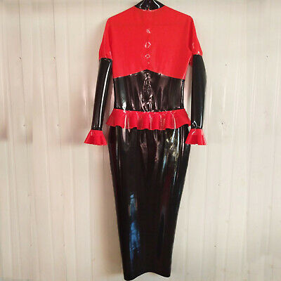 Latex Rubber Women Tops and Tight Sexy Pack Skirt Set Catsuit Anzug 0.4mm S-XXL