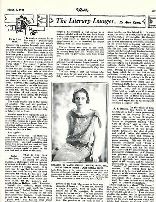 Original Vintage Article 'The Literary Lounger' Sketch March 3rd1926