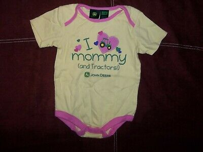 John Deere, s/s, yellow/pink body suit, sz 24m, I Love Mommy (and tractors!)