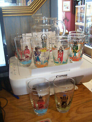 Acee Blue Eagle Knox Oil Gas 8 X Glasses and Pitcher Oklahoma Indian Chiefs