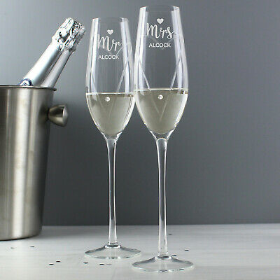 Personalised Engraved Hand Cut Mr & Mrs Pair of Flutes Wedding Gift Idea