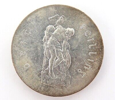 aUNC 1966 IRISH IRELAND SILVER 10 SHILLINGS.