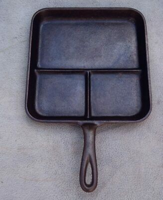 HTF Vintage LODGE American Cast Iron Cookware Sectioned BREAKFAST SKILLET 8 BE H