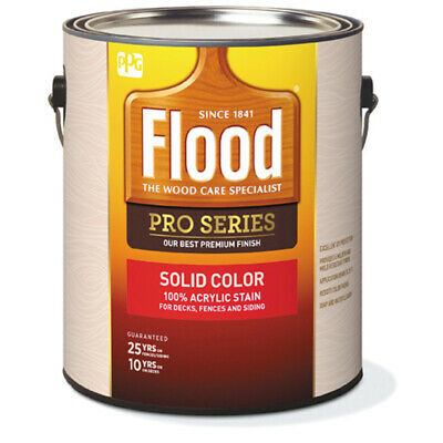 Flood  Pro Series  Solid  Satin  White  Tint Base  Acrylic  Wood Stain  1 gal.