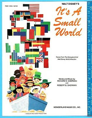 It's A Small World Disney Disneyland Theme Piano Vocal Chords Sheet Music 1973