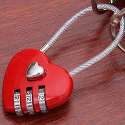 Cute 3 Digits Heart Shape Lock Code Luggage Padlock Present Gift for Girlfriend