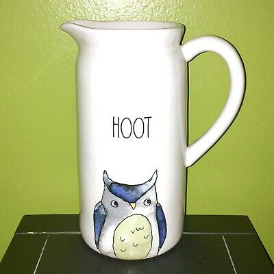 "New RAE DUNN Halloween Fall LL ""HOOT"" Owl Pitcher By Magenta"