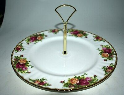 Nice! Royal Albert Old Country Roses Tidbit Cake Platter - W/Handle - 1962 Mark