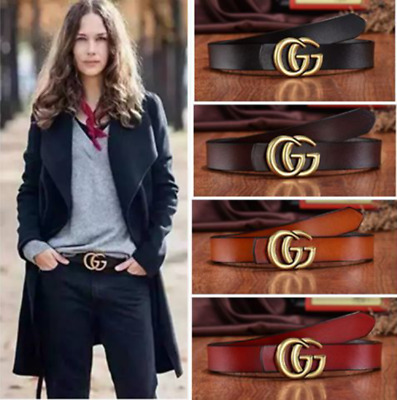 Fashio Women G-Style Buckle Leather Slim Belts Double G Logo For Jeans Dress