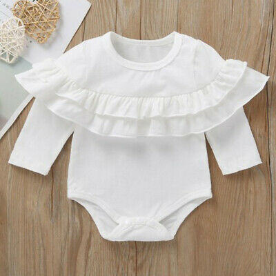Newborn Infant Baby Girl Ruffle Romper Jumpsuit Bodysuit Cotton Outfits Clothes