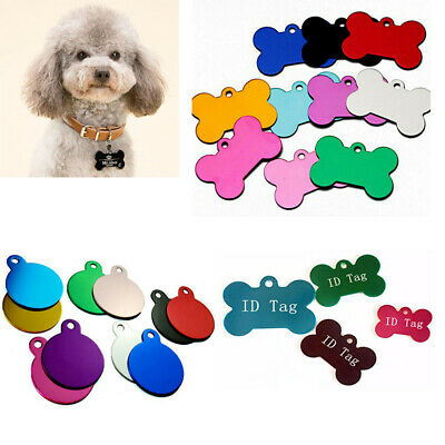 Round/Bone Shape Personalized Dog Cat Tags Engraved Pet ID Name Collar Tag