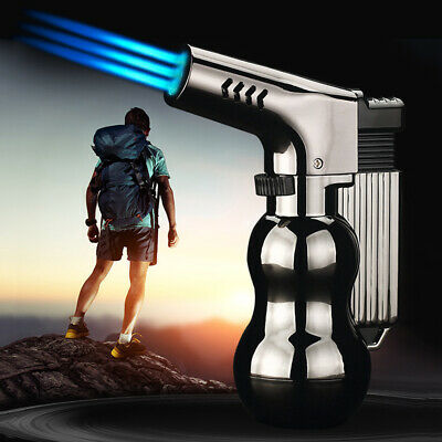 Windproof Refillable Lighter Metal Three Fire Butane Inflatable Jet Torch Flame