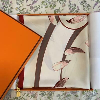 HERMES Carre 90 SCARF 100% Silk Beige-Pink Authentic Made in FRANCE USED