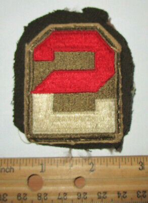 Original Wwii Us Second Army Shoulder Patch, Removed From Officers Uniform