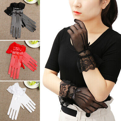 1Pair Lady Wedding Evening Party Wrist Stretch Mesh Lace Long Finger Gloves AU