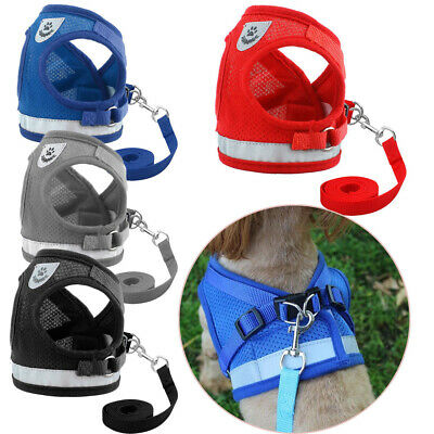 Small Dog Cat Harness and Walking Leads Set Pet Puppy Soft Breathable Mesh Vest