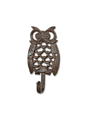 "Brown 5"" Metal Cast Iron Single Owl Wall Mount Hook Coat Hanger Garden Decor"