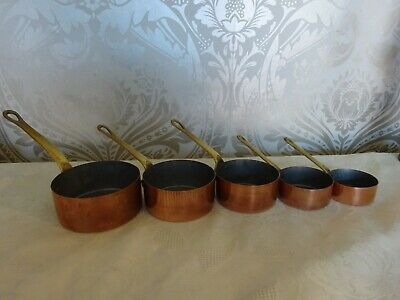 Vintage retro Set of 5 Copper Brass Handled Graduated Measuring Pans