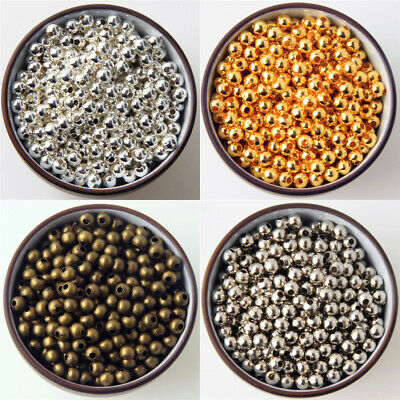 2mm 3mm 4mm 6mm SILVER Bronze Gold Metal Round Ball Smooth SPACER BEADS DIY new