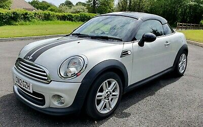 2012 MINI COOPER COUPE 1.6 SILVER with BLACK ROOF & STRIPES 2DR CARDS / DELIVERY