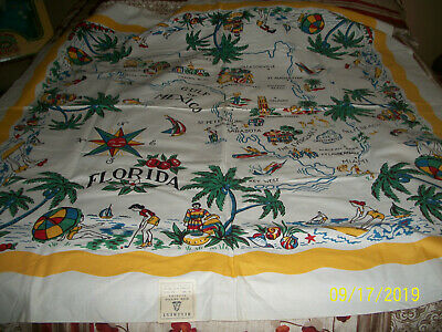 Never Used with Label Florida Souvinir Tablecloth 52 by 52