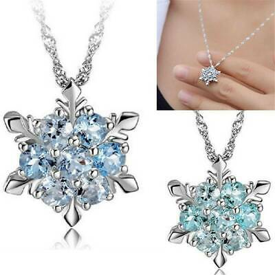 925 Silver Snowflake Necklace Women's Sapphire Flower Crystal Pendant Jewelry