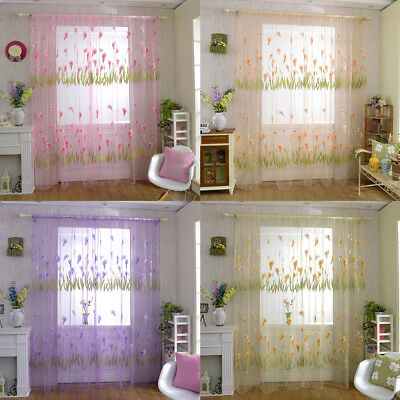 AM_ UK_ Flower Pattern Voile Rod Pocket Window Curtain Sheer Drape Home Bedroom