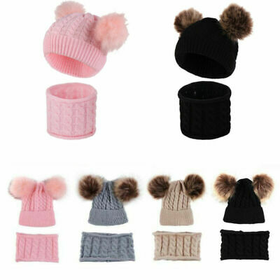 Knitted Baby Beanie Hat+Scarf Set For Girl Boy Winter Warm Cap Baby Accessories