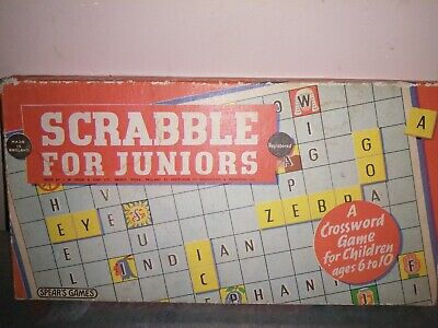 Vintage Scrabble For Juniors Board Game Two Word Games by Spears Games 1958