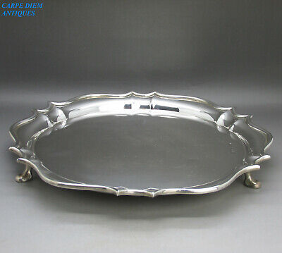 ANTIQUE GOOD LARGE SOLID STERLING SILVER SALVER TRAY GMco, 555g LONDON 1909
