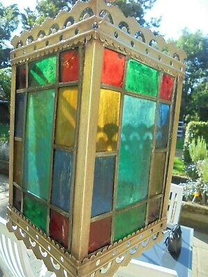 Antique Brass Lantern Shade , Stained Glass