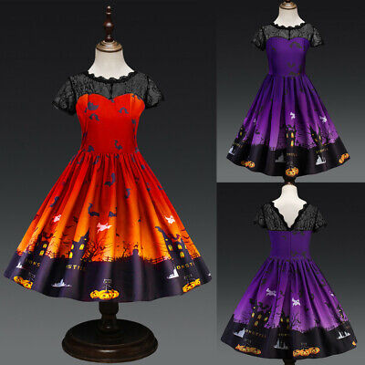 Toddler Teen Kids Girl Halloween Lace Print Dress Outfit Party Prom Costume Gown